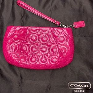 Coach Gramercy Hot Pink Patent Leather Wristlet
